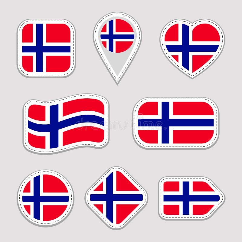 Grupo das etiquetas da bandeira de Noruega Crachás noruegueses dos símbolos nacionais Ícones geométricos isolados O oficial do ve ilustração do vetor