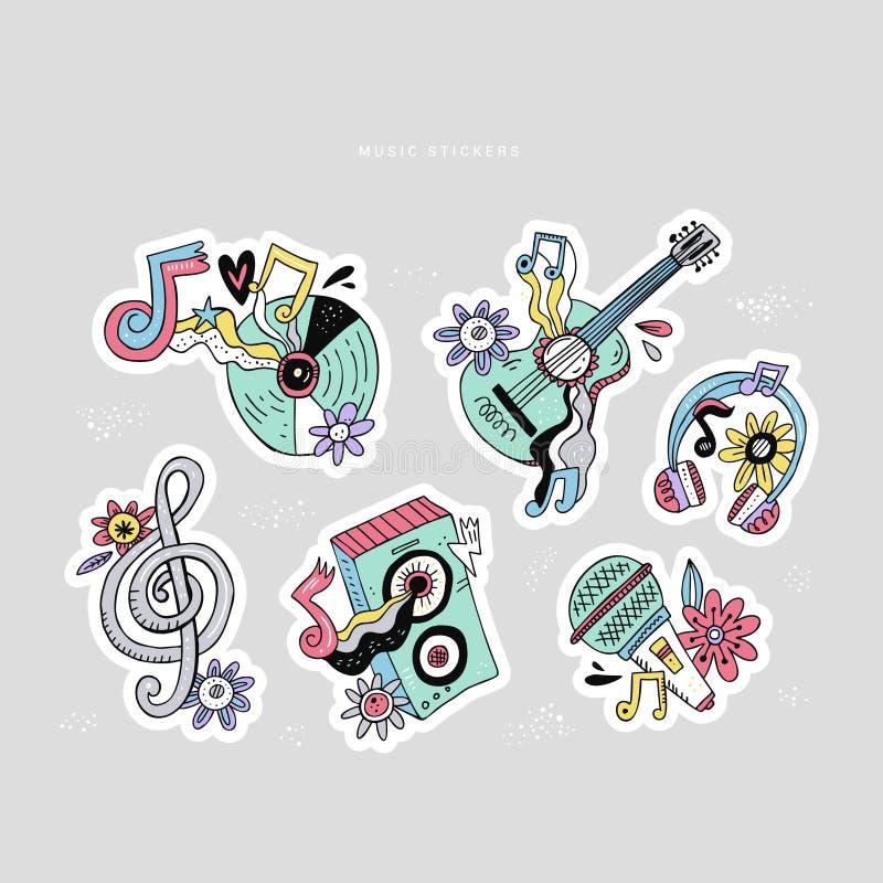 Grupo das etiquetas da garatuja da música da hippie ilustração do vetor