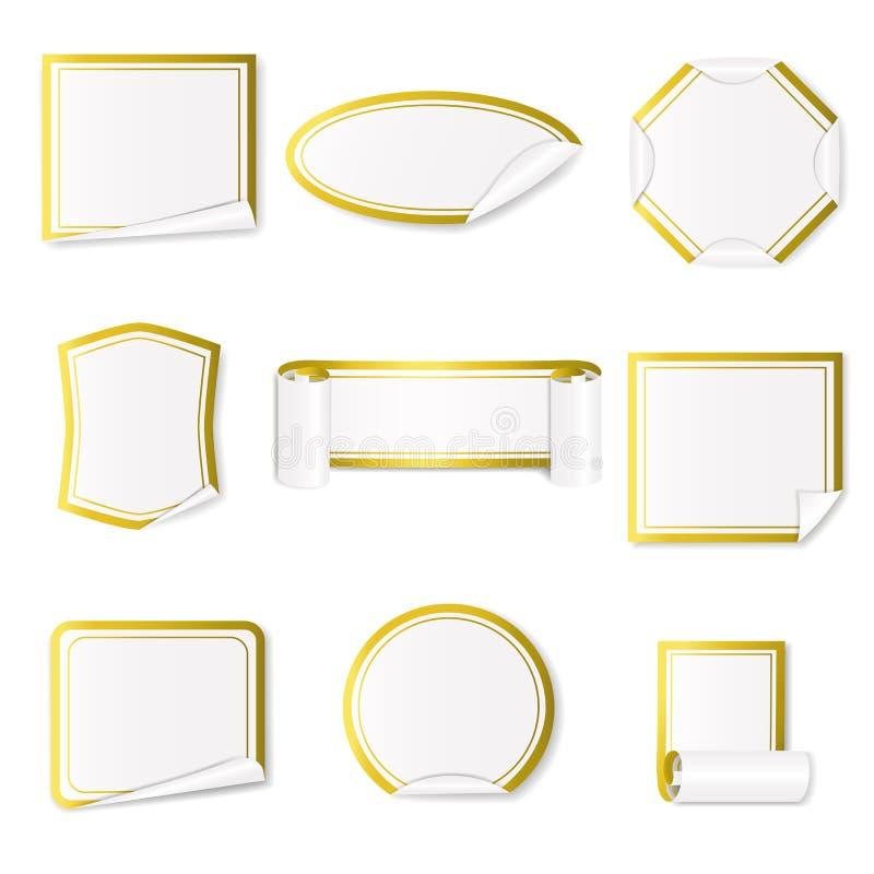 Grupo das etiquetas de papel brancas com beira do ouro ilustração do vetor