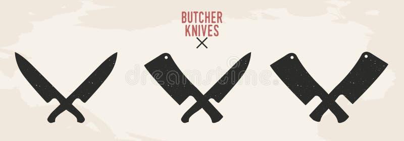 Grupo das facas do restaurante Facas da carne A faca do cozinheiro chefe e o talhador de carne isolado no fundo velho Projeto do  ilustração royalty free