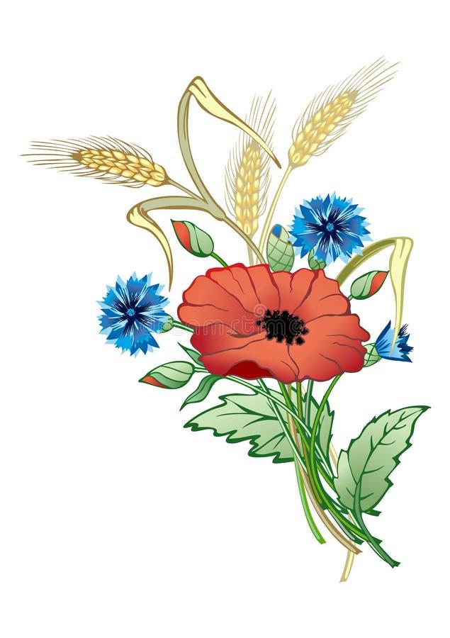 Grupo das flores selvagens ilustração royalty free