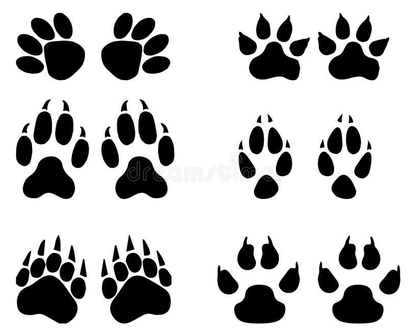 Grupo das fugas animais, pegadas com nome no fundo branco mostra em silhueta a ilustração ilustração do vetor