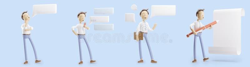 Grupo das ilustrações 3d Homem de negócios Jimmy com conversa, pena e papel da bolha ilustração stock