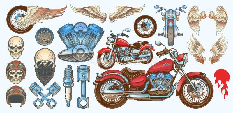 Grupo das ilustrações do vetor, ícones da motocicleta em vários ângulos, crânios do vintage, asas ilustração do vetor