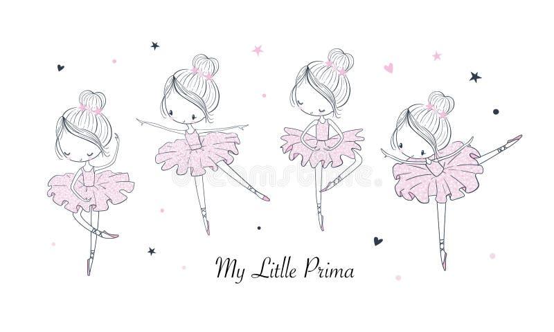 Grupo das ilustrações do vetor da bailarina da dança dos desenhos animados ilustração royalty free