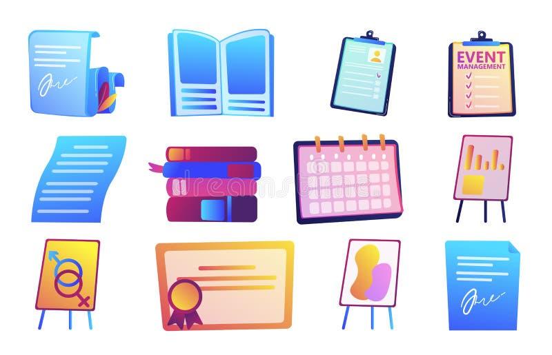 Grupo das ilustrações do vetor do documento de papel e da estratégia de gestão ilustração do vetor
