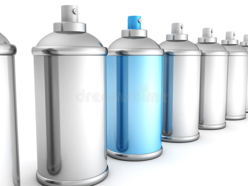 Grupo das latas de pulverizador de prata com azul um ilustração royalty free