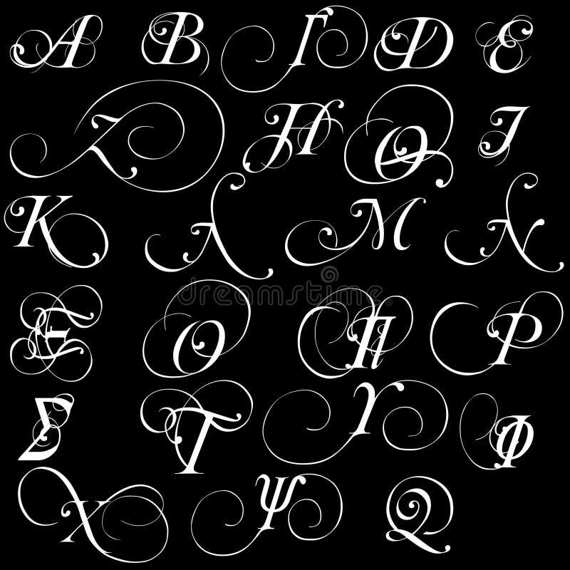 Grupo das letras caligráficas gregas do alfabeto do vetor isoladas no fundo preto ilustração stock