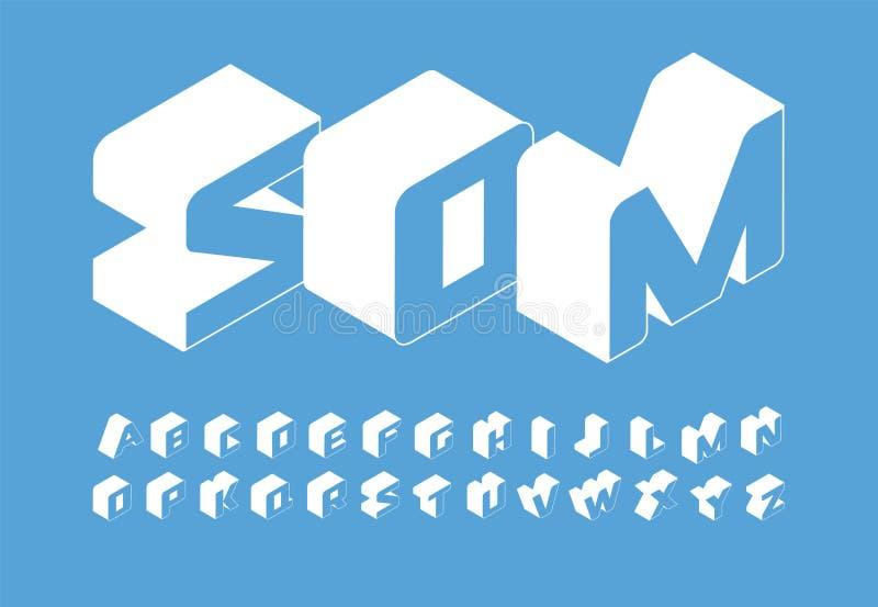 Grupo das letras de Isometry alfabeto de latino simples isométrico do vetor do estilo 3D Fonte para infographic, Web, bandeira, l ilustração stock