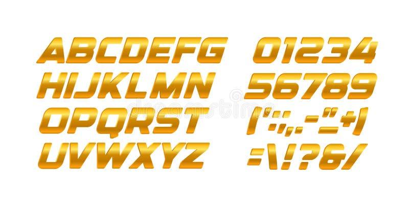 Grupo das letras e dos números do ouro Alfabeto de latino dourado do vetor do estilo do inclinação Projeto corajoso itálico da ti ilustração do vetor