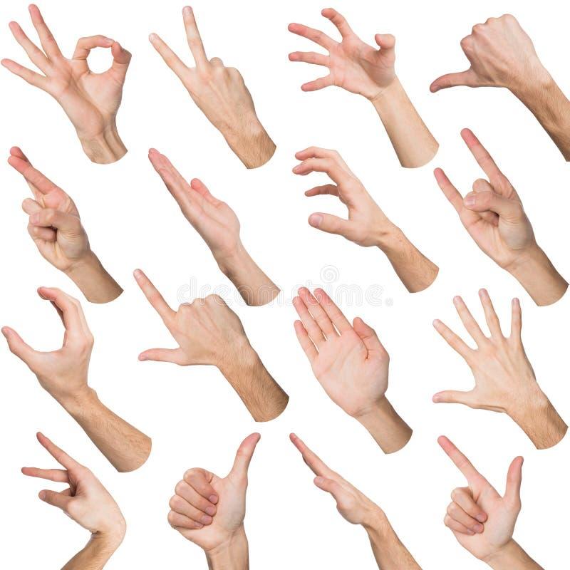 Grupo das mãos masculinas brancas que mostram símbolos fotos de stock