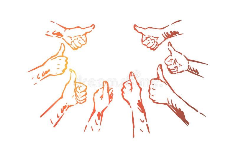 Grupo das mãos que mostra os polegares acima, acordo, aprovação, expressão da confirmação, satisfação, símbolo do sucesso ilustração stock