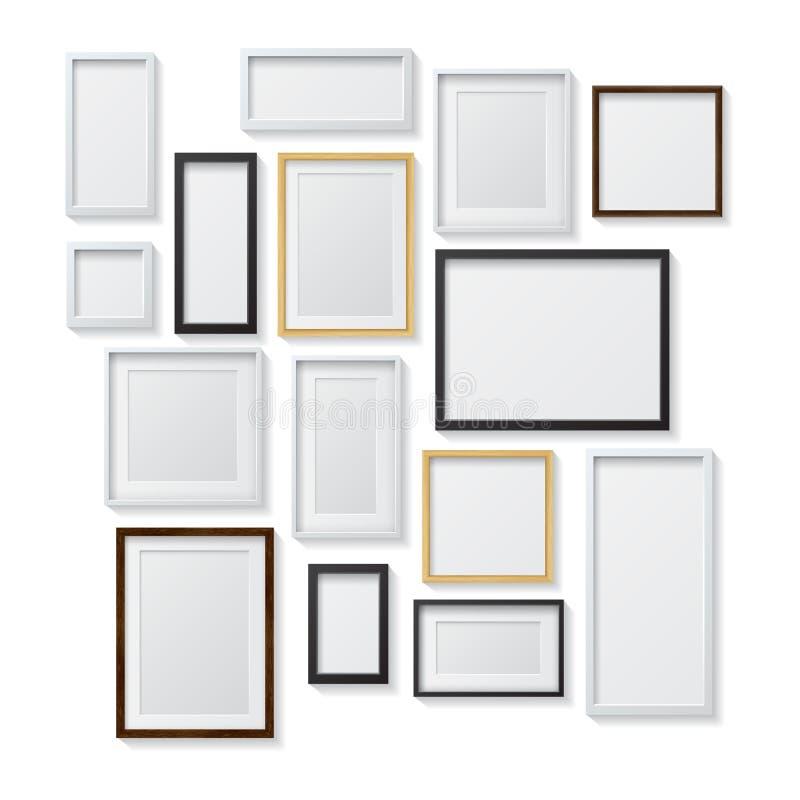 Grupo das molduras para retrato vazias brancas e pretas e ilustração stock