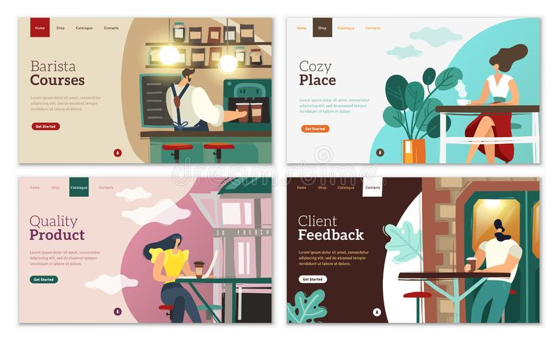 Grupo das páginas da aterrissagem do café ilustração royalty free