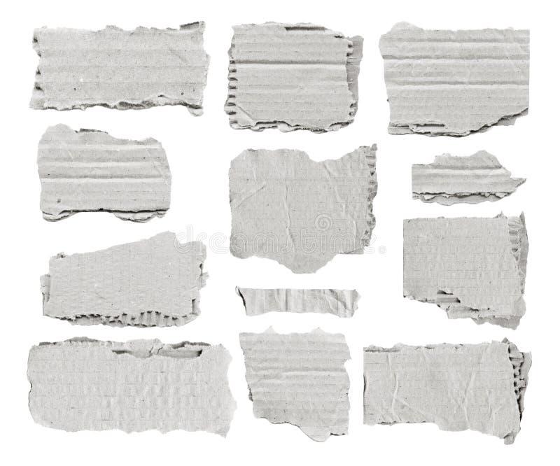 Grupo das partes de papel rasgadas brancas para notas foto de stock royalty free