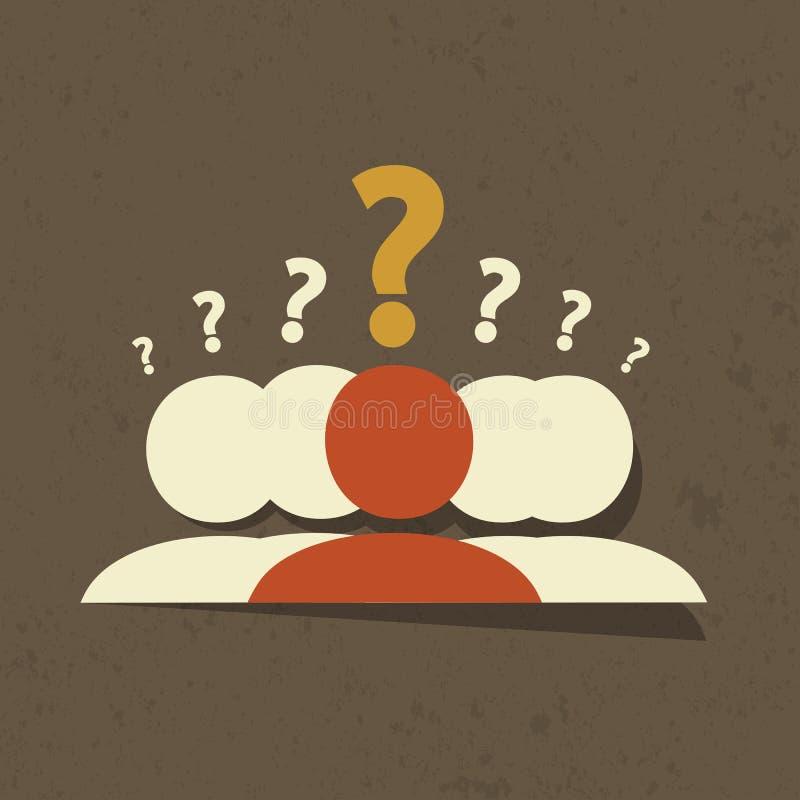 Grupo das perguntas ilustração stock