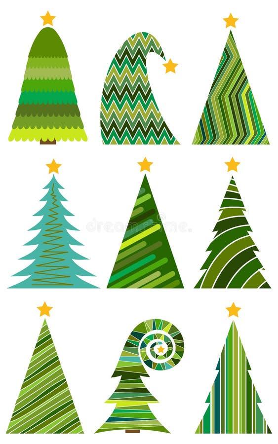 Grupo de árvores de Natal ilustração do vetor para o Feliz Natal ilustração royalty free