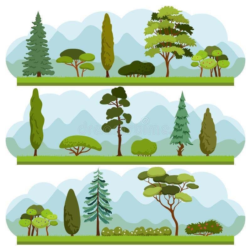 Grupo de árvores e de arbustos diferentes imagens de stock royalty free