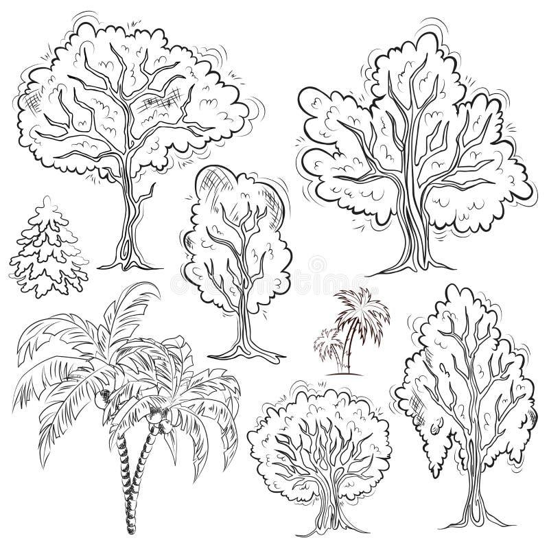 Grupo de árvores esboçadas isoladas ilustração royalty free
