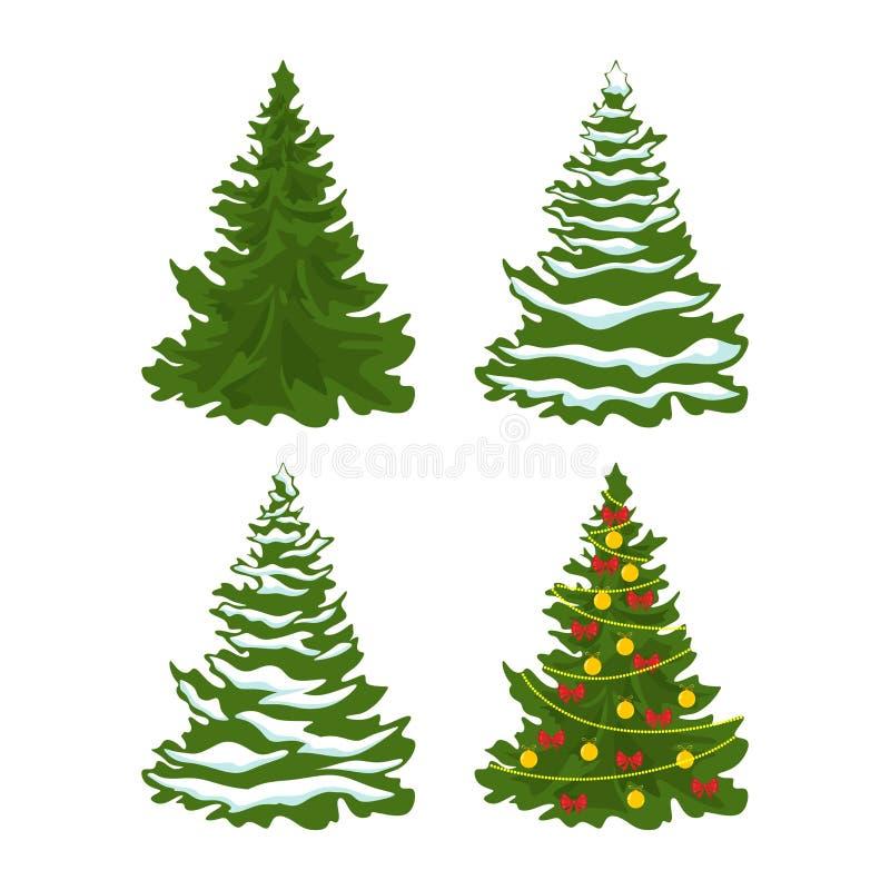 Grupo de árvores de Natal com as decorações de bolas do Natal, na neve ilustração stock