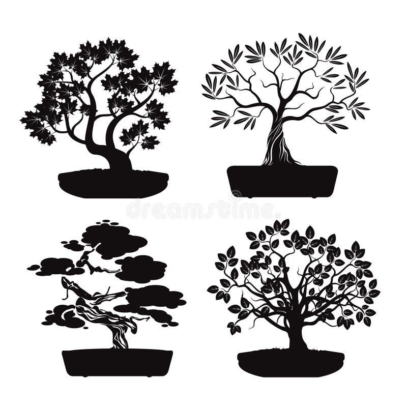 Grupo de árvores pretas dos bonsais ilustração royalty free