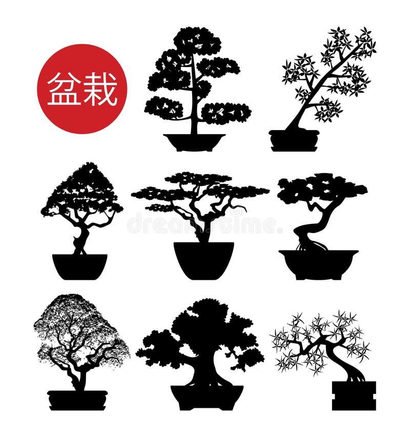 Grupo de árvores preto e branco dos bonsais ilustração royalty free