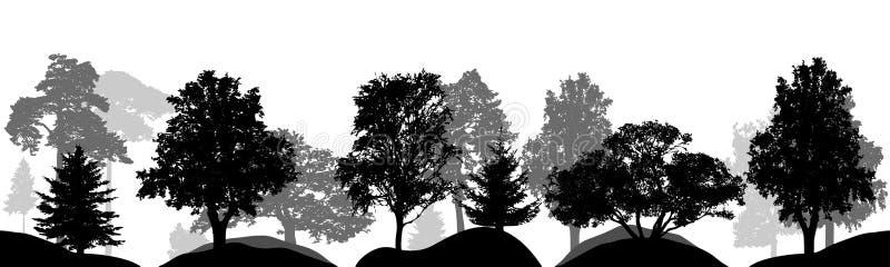 Grupo de árvores, silhuetas isoladas, vetor ilustração royalty free