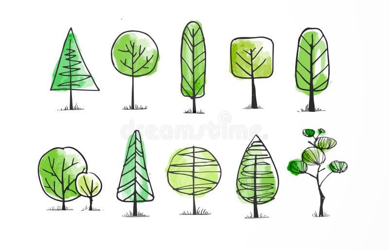 Grupo de árvores verdes do esboço da garatuja no fundo branco ilustração stock