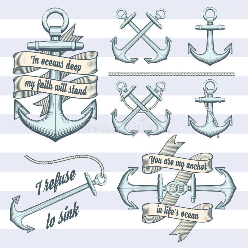 Grupo de âncoras do vintage ilustração stock