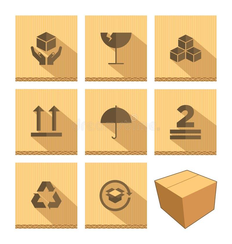 Grupo de ícone da caixa de cartão ilustração stock
