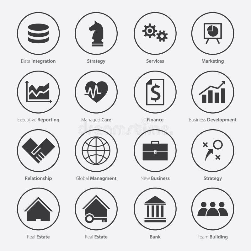 Grupo de ícone da carreira do negócio no projeto liso imagem de stock