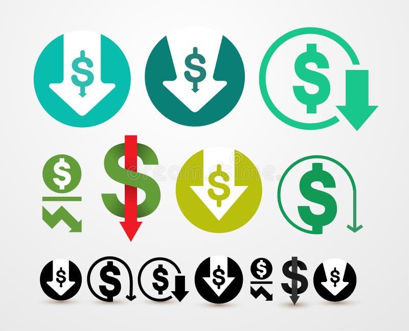 Grupo de ícone da redução de custo Ilustração do vetor da abreviatura da despesa Isolado no fundo branco ilustração stock