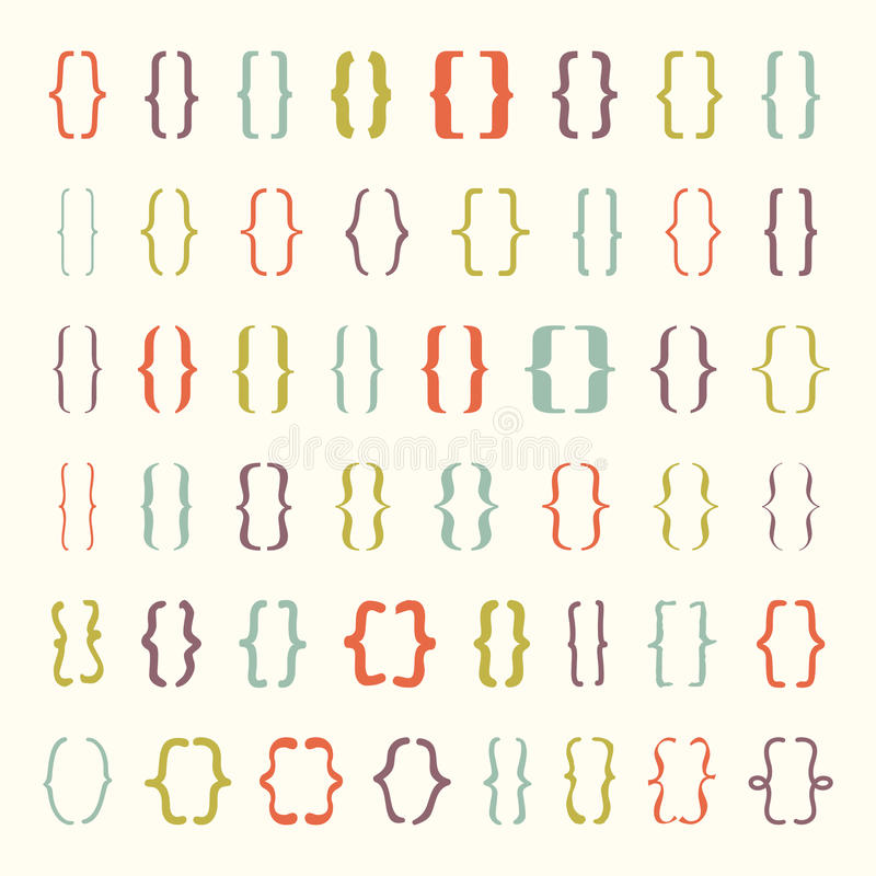 Grupo de ícone das cintas do vetor ou dos suportes encaracolado foto de stock royalty free