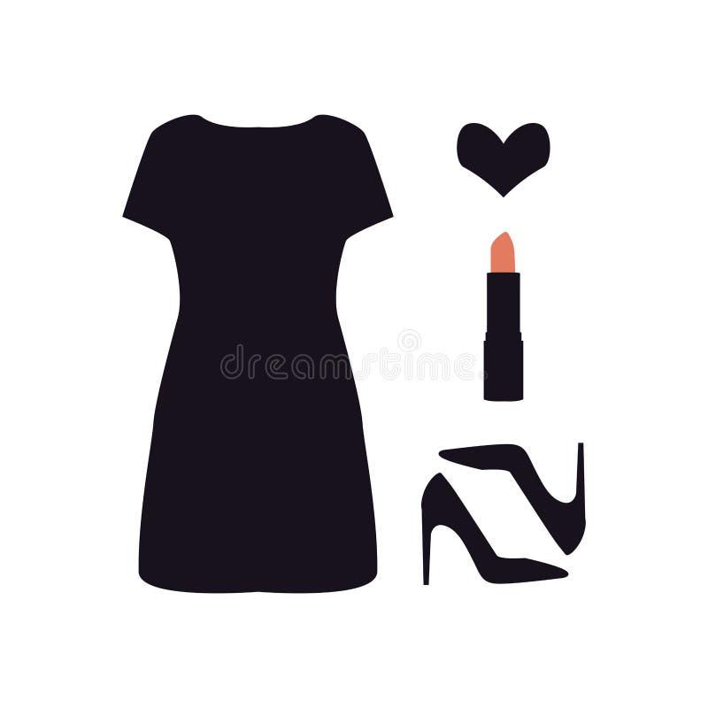 Grupo de ícone das senhoras Vestido, sapatas, batom e coração simples pretos Acessórios do ` s das mulheres Ilustração da beleza  ilustração stock