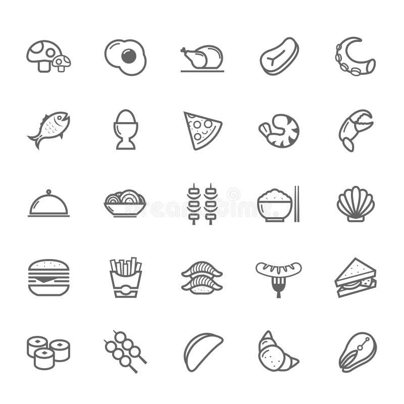 Grupo de ícone do alimento do curso do esboço ilustração stock