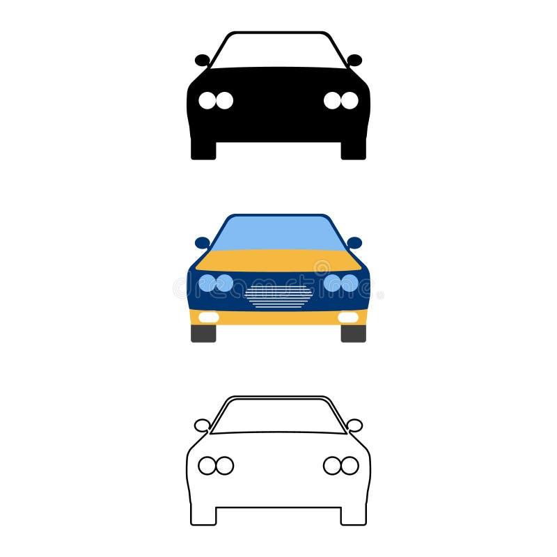 Grupo de ícone do carro liso Desenhos animados, esboço, illust do vetor da silhueta ilustração do vetor