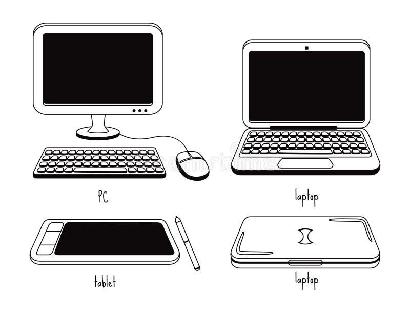 Download Grupo De ícone Do Computador Ilustração Stock - Ilustração de teclado, desenho: 29828910