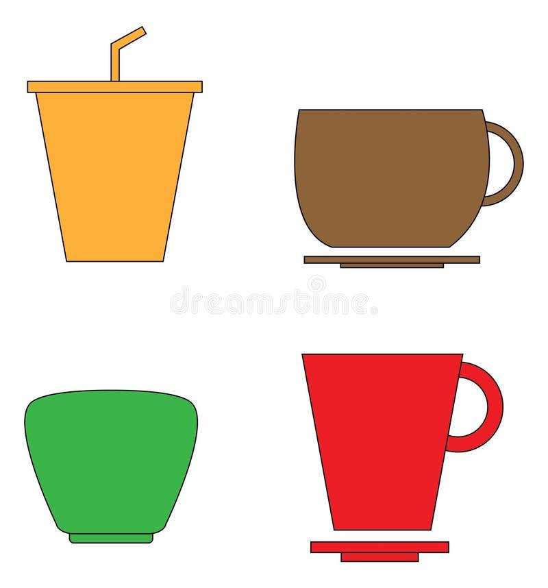 Grupo de ícone do copo do café e de chá ilustração do vetor