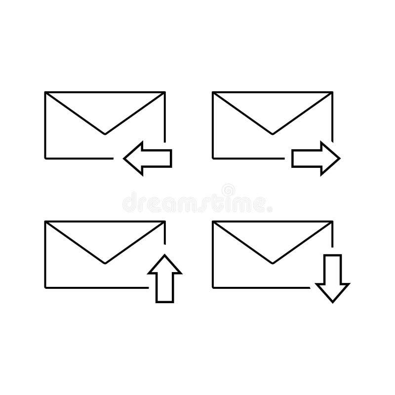Grupo de ícone do email dos envelopes ilustração stock