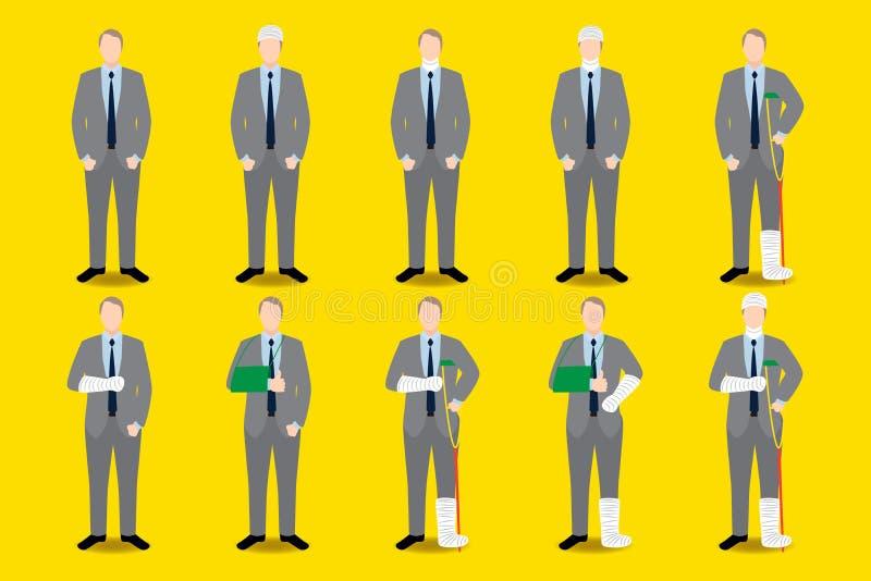 Grupo de ícone do homem de negócios dos ferimentos O braço quebrado, o pé, a cabeça, o torso com atadura e o emplastro casted ilustração royalty free