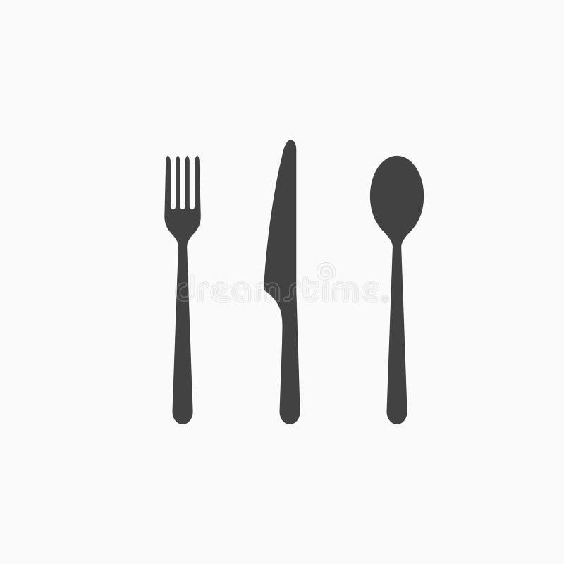 Grupo de ícone do monochrome da forquilha, da colher e da faca Ilustração do vetor ilustração stock