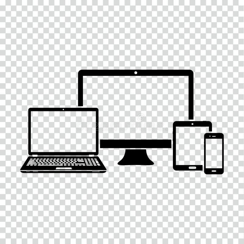 Grupo de ícone dos dispositivos eletrónicos ilustração stock