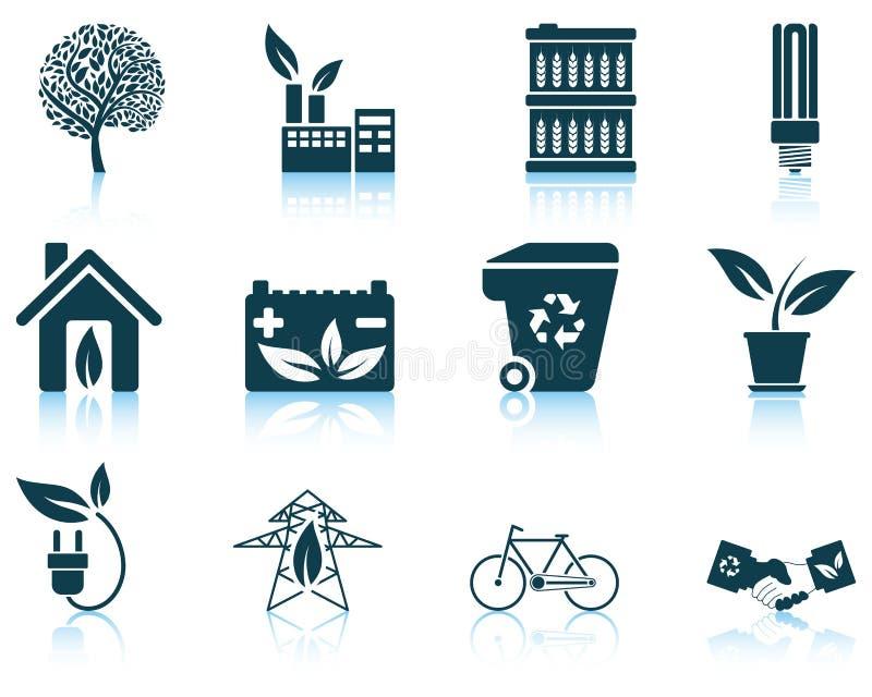 Grupo de ícone ecológico ilustração stock