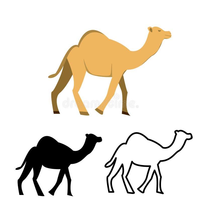 Grupo de ícone liso do camelo ilustração stock