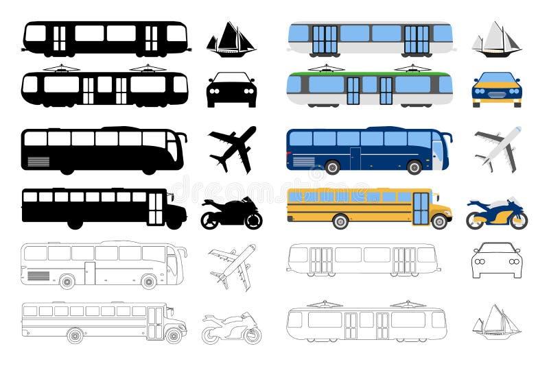 Grupo de ícone liso do transporte urbano Desenhos animados, esboço, silhueta V ilustração stock