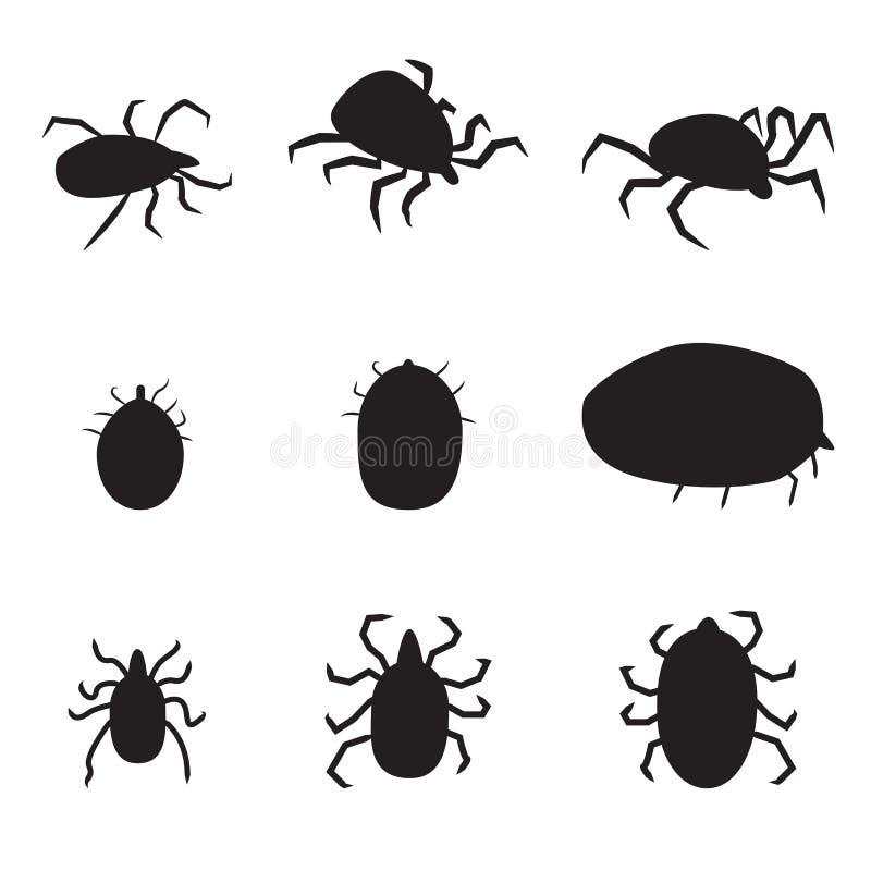 Grupo de ícone preto do tiquetaque de cão da silhueta illustrat isolado do vetor ilustração stock