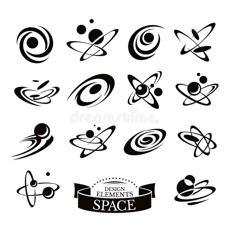 Grupo de ícones abstratos do espaço ilustração stock