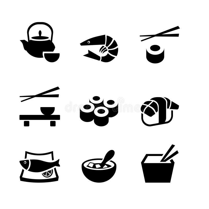 Grupo de 9 ícones. Alimento japonês ilustração stock