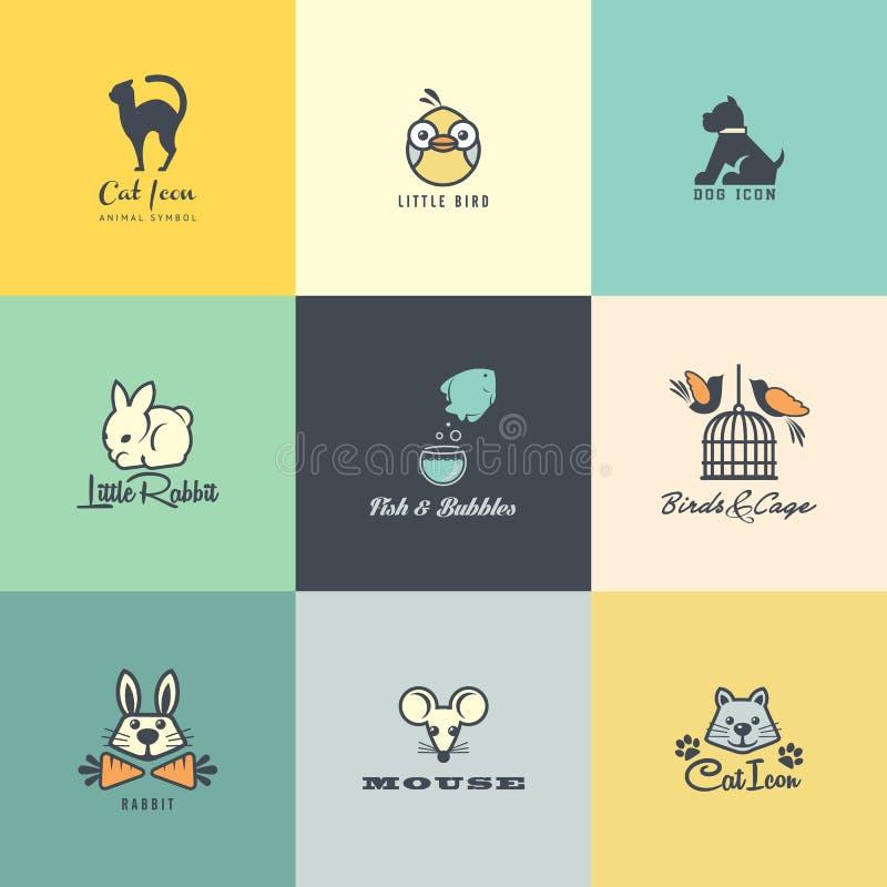 Grupo de ícones animais coloridos ilustração royalty free