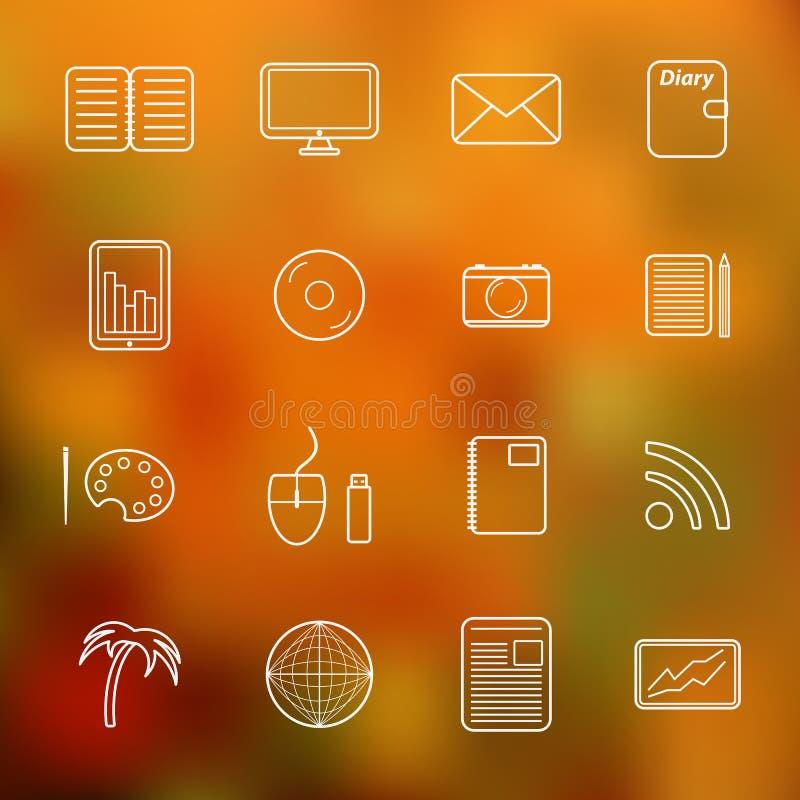 Grupo de ícones autônomos finos simples ilustração stock